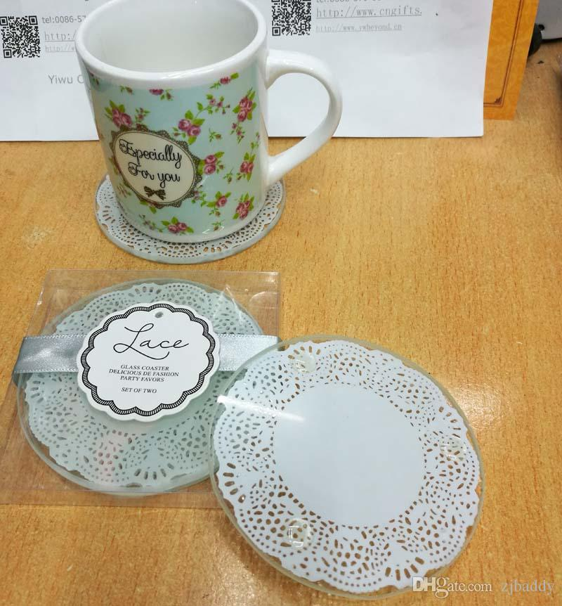Wholesale Return Gifts for Kids Birthday Lace Glass Cup Coaster Tablemat Cup Mat Casamento Bridal Shower favors