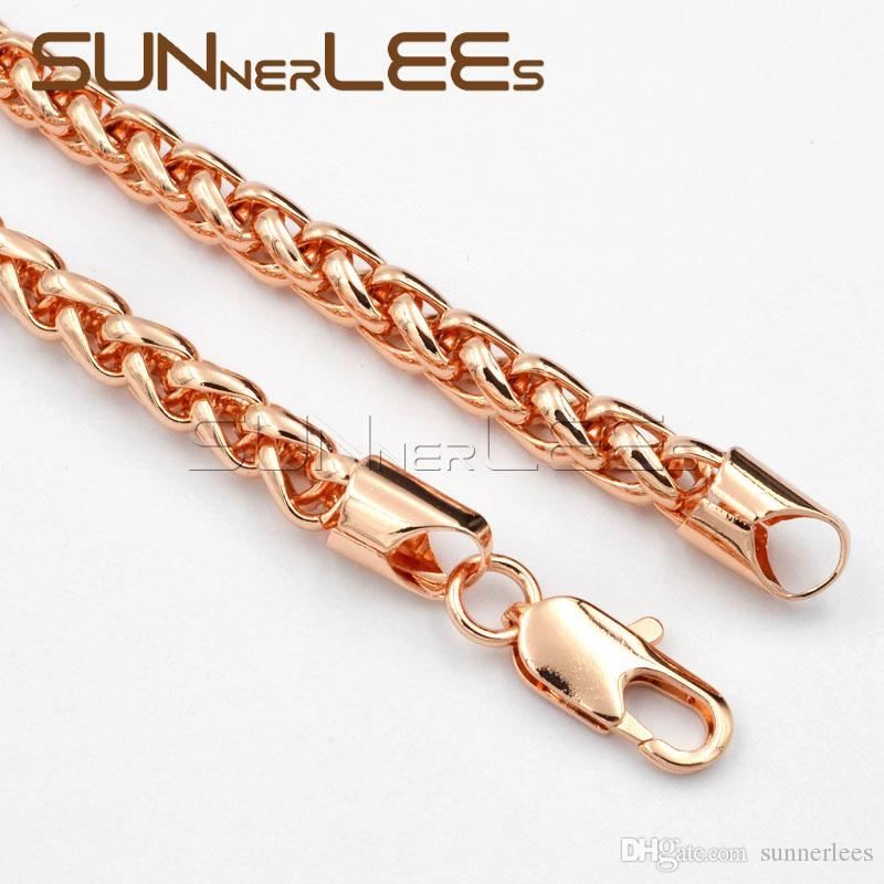 7mm Mens Womens Jewelry Gift Wheat Link Chain Rose Gold Filled Necklace Bracelet Set C02 RS