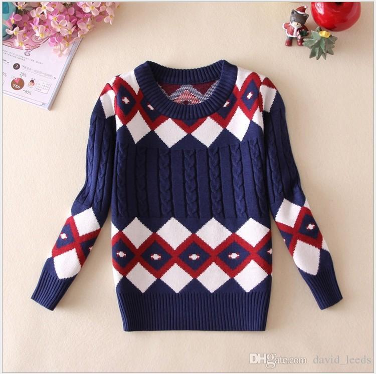 f066aafbd1cd00 Retail 2018 New Boys Fall Winter Sweaters Children Geometric Patterns Plaid  Sweatshirts Kids Keep Warm Pullover Boy Sweater 100 140cm Kids Sweaters  Designs ...