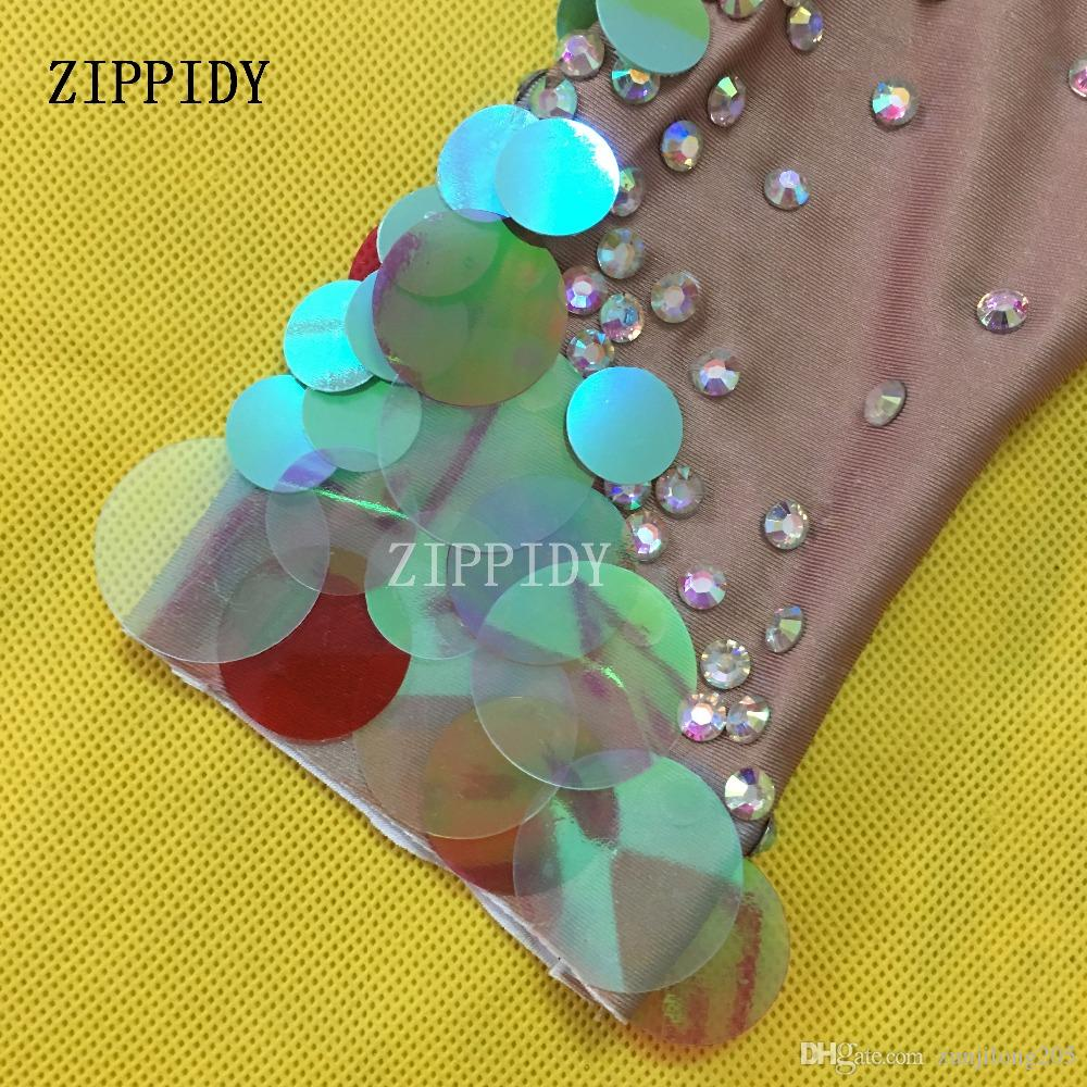 Multicolor Big Sequins Mermaid Bodysuit Nightclub Dress Sexy Leggings Jumpsuit Party Costume Stage Rhinestones Nude Rompers