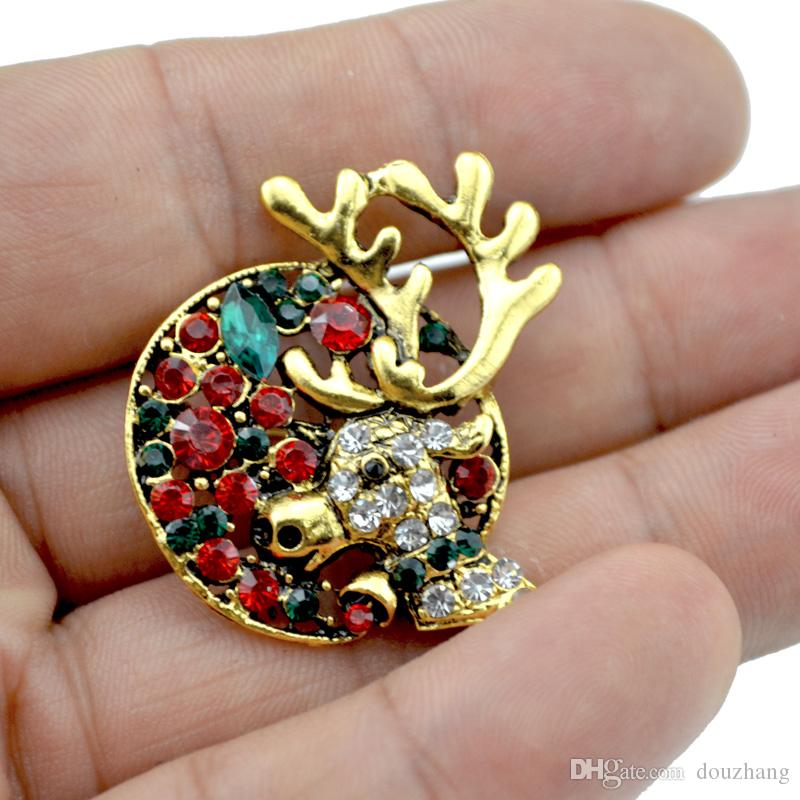 Fibules pour les femmes Rhinestone Rétro ronde cerf Elaphurus rennes Elk Moose Milu Pins cadeaux Broches en gros 12 pièces