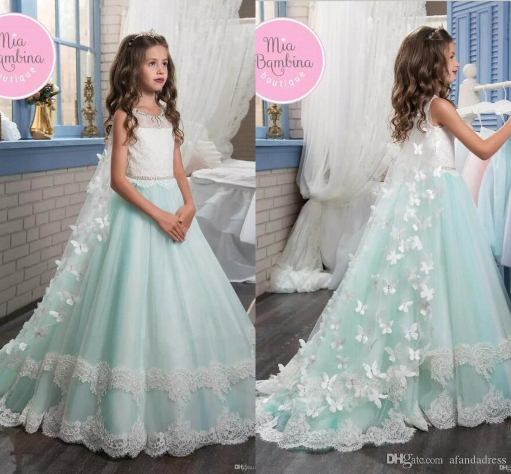 2017 Flower Girl Dresses For Wedding Vintage Lace With 3d Flowers ...