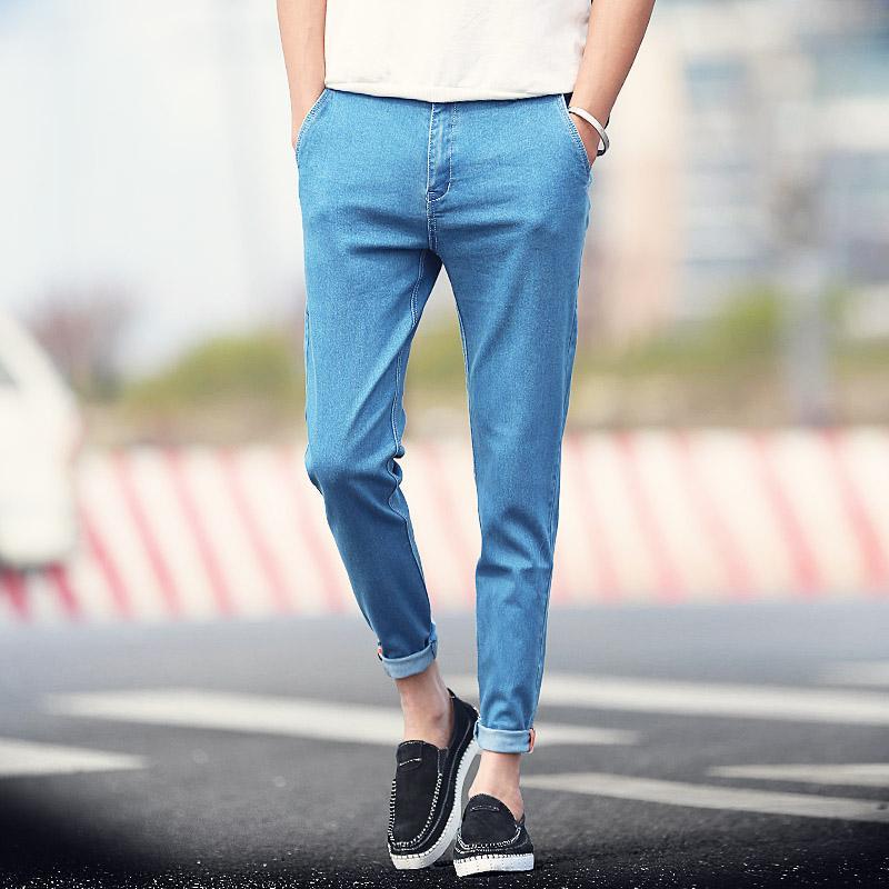 2018 Wholesale New 2016 Summer Men Jeans Solid Black Blue Ankle Length Pants Men Korean Boys ...
