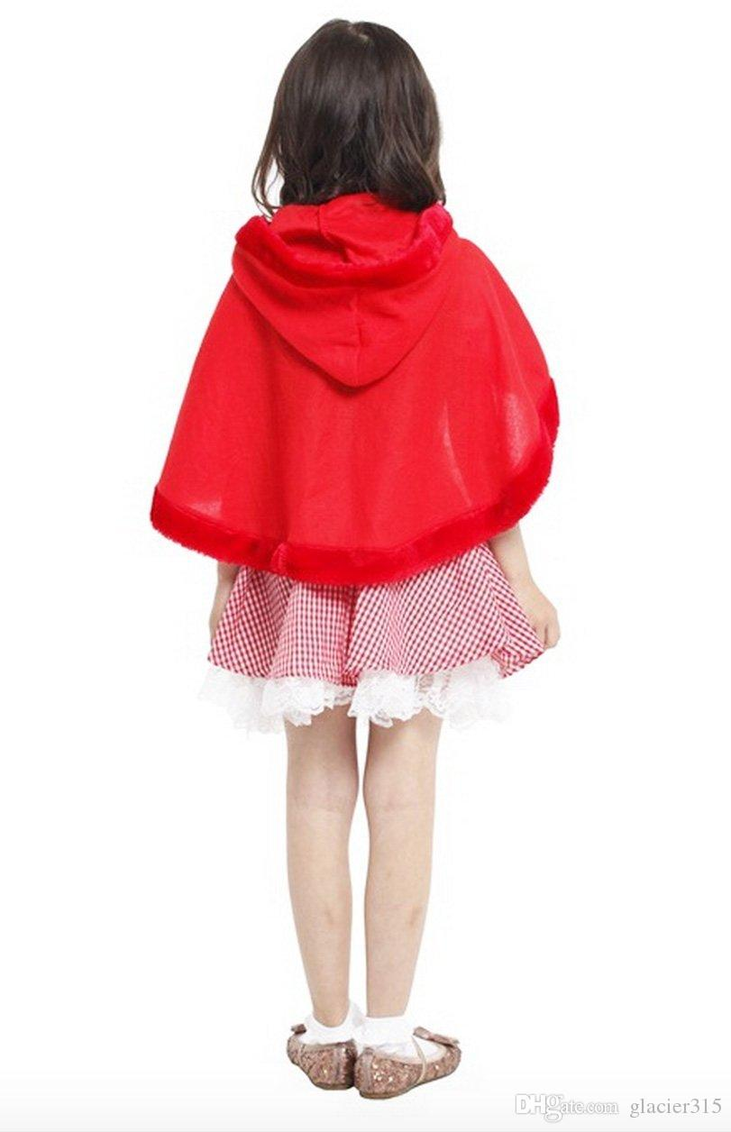 Shanghai Story halloween kids girls fancy dress little red hood girl cosplay costume children hood costume clothing