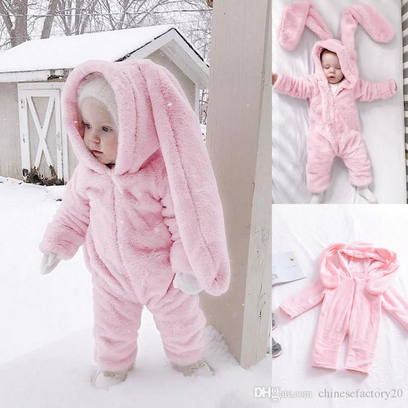 1f322279e 2019 INS Winter Warm Baby Clothing Big Bunny Ear Hooded Romper ...