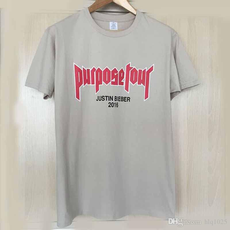 Brand Justin Bieber Fear of God Purpose Tour O-Neck Short Tee Sand Color Merchandise Tour Tshirt Homme Clothing