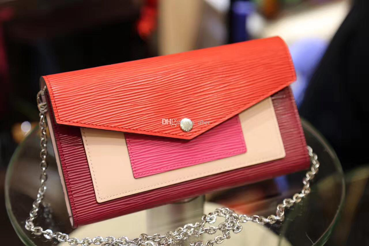 3e2eaba5a8b6 Chain Wallet Epi Leather Chain Women Wallet M62252 card holder designer best  Leather wallets Branded ladies long clutch Red Purse bags