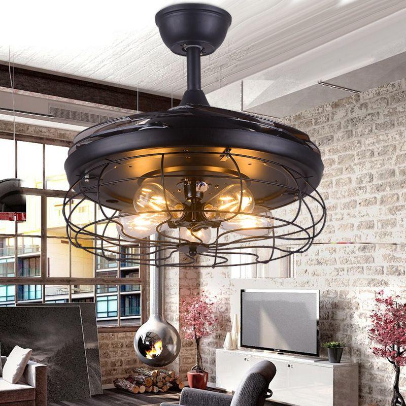 42 inch Edison light bulb Village Folding Ceiling Fans With Lights Classical Loft Living Room Industrial Ceiling Light Fan Lamp