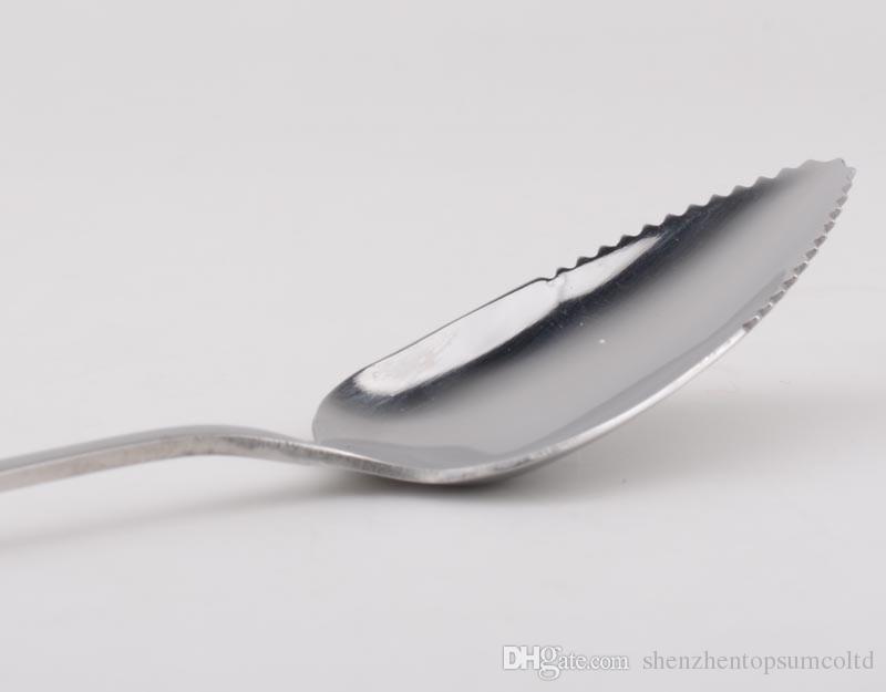 ステンレス鋼グレープフルーツスプーンロングハンドルのこぎり歯スクラープスプーン