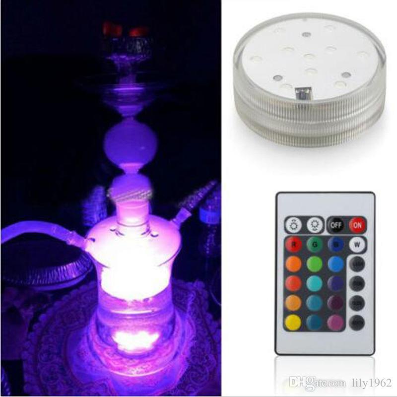 narghilè in vetro borosilicato Shisha con 16 tipi di luci a LED Tubo in silicone senza custodia in pelle