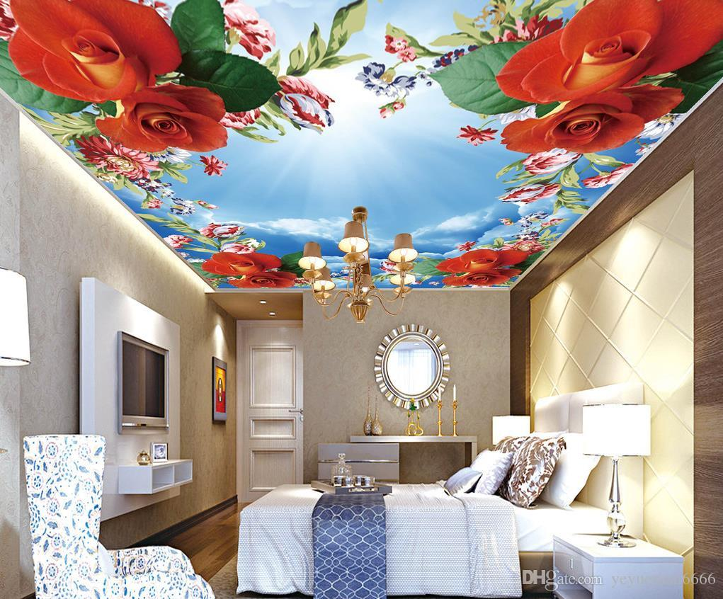 Wedding Decoration 3d Ceiling Wall Murals For Living Room Bedroom Wedding  Room Romantic Rose Sky Ceiling Mural Women Wallpapers Xmas Wallpaper From  ... Part 75