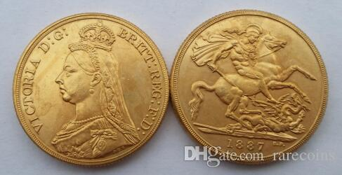1887 Queen Victoria Gold Double Sovereign Two Pounds Promotion Cheap  Factory Price nice home Accessories Silver Coins