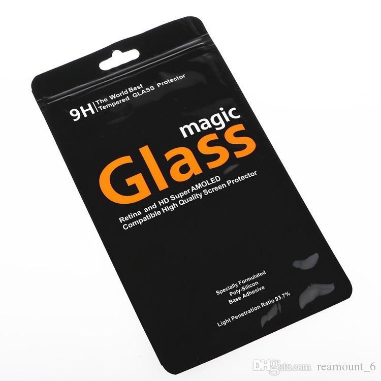 100 шт Пользовательские ПВХ Упаковки для закаленного стекла Розничной Универсальный Упаковки Сумки для экрана протектора для iPhone X 7 Plus
