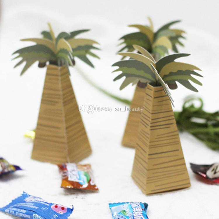 50pcs Palm Tree Wedding Favor Boxes Beach Theme Party Favor Small Candy Gift Box New Free Shipping