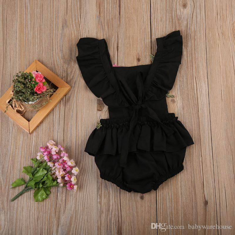 Maluch Odzież niemowlę Dziewczynek Haft Rose Romper Back Cross Bandaż Pajaciki Jednoczęściowy Outfit Sunsuit Kids Clothing Body