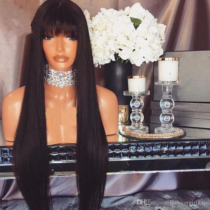 Hot! Synthetic Glueless Hair Wigs with bangs Black Silky Straight Hair Full Bangs Synthetic Lace Front Wig For Women
