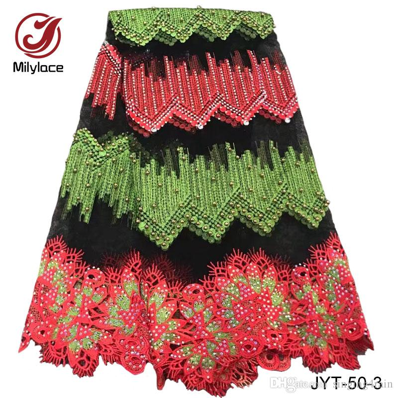 2017 latest 5 yards embroidery African lace fabric with beads and stones guinea style french net lace fabric for women blouse JYT-50