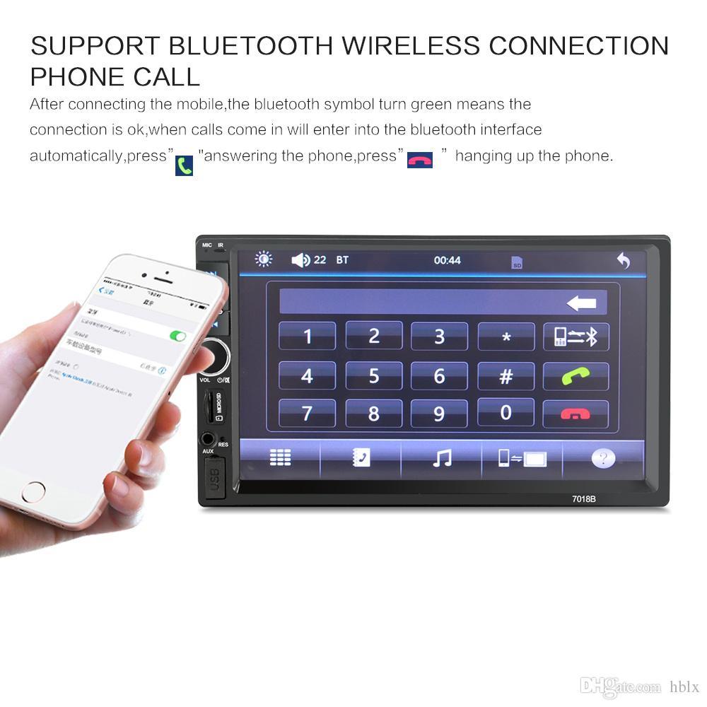 7 pollici Touch Screen 2 Din Bluetooth Car MP5 Supporto lettore video MP3 USB TF AUX FM con telecamera posteriore CMO_21Q