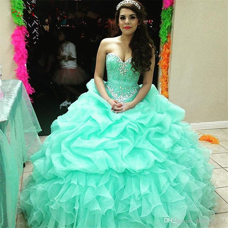 Elegante vestido de quinceañera con volantes de bola de cristal con cordones de menta verde sexy 16 vestido de organza vestidos de bola vestidos largos para fiesta