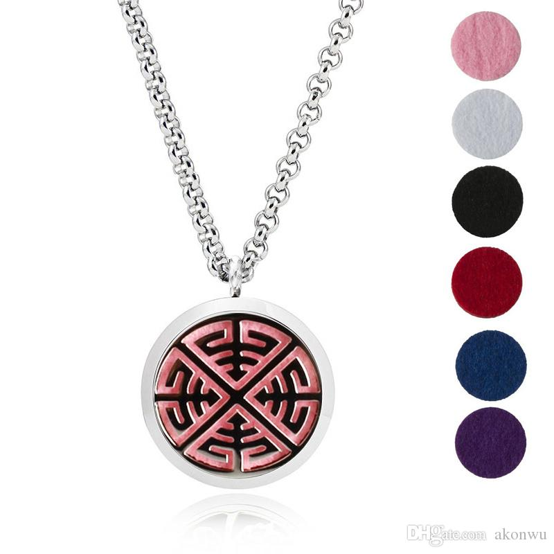 30mm Stainless Steel Aromatherapy Fillligree Locket Essential Oil Diffuser Locket Necklace With 6 different Refill Pads MJ7