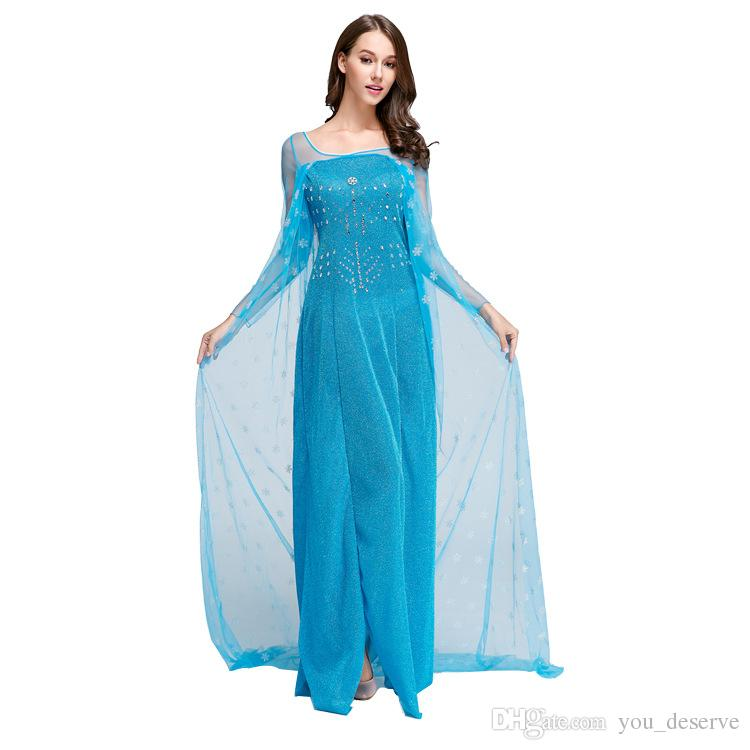 Frozen Dresses Adult Girls Princess Elsa Cosplay Dresses Lace Long ...