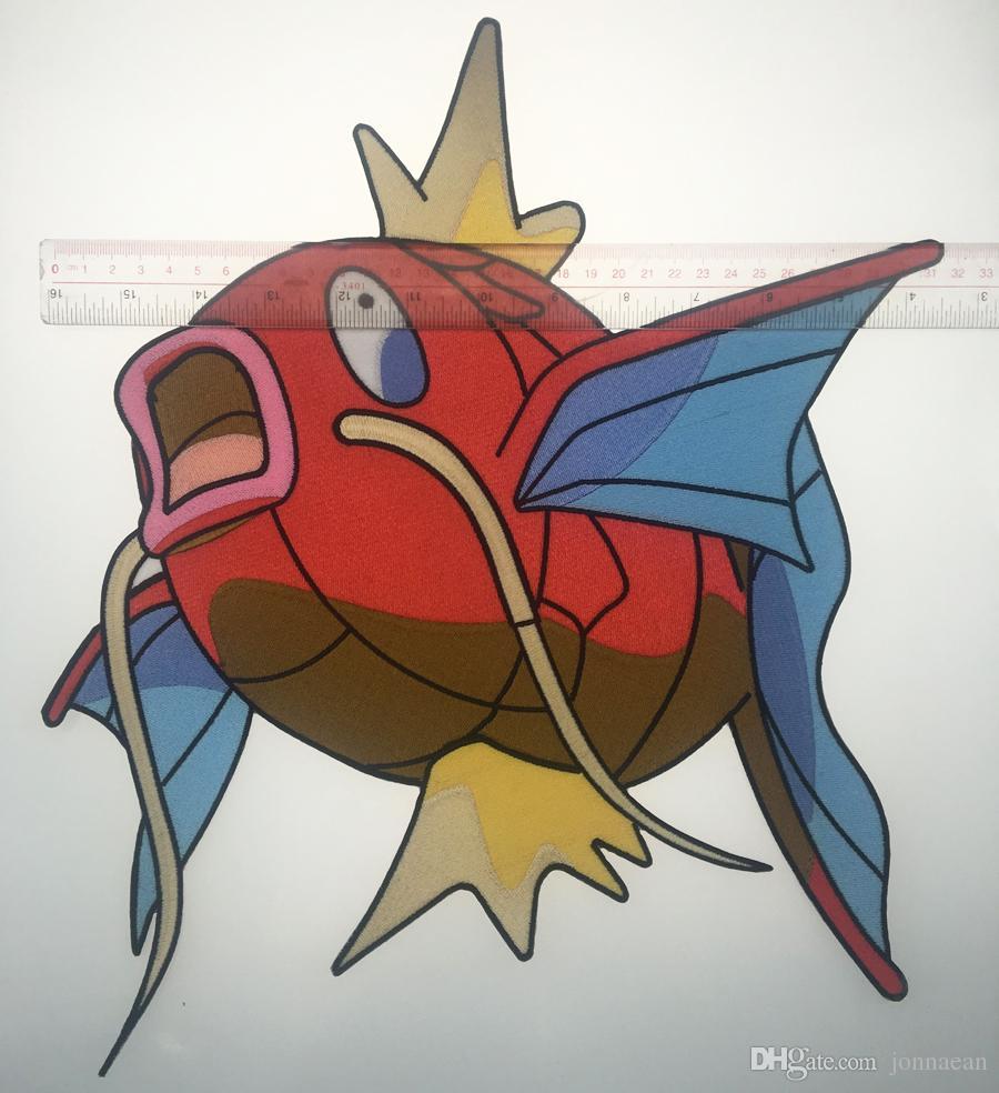 Özel Karikatür Sevimli Balık Sazan Yama Büyük Boy Tam Geri Işlemeli Demir Veya Dikmek Için Ceket Çanta T-bok