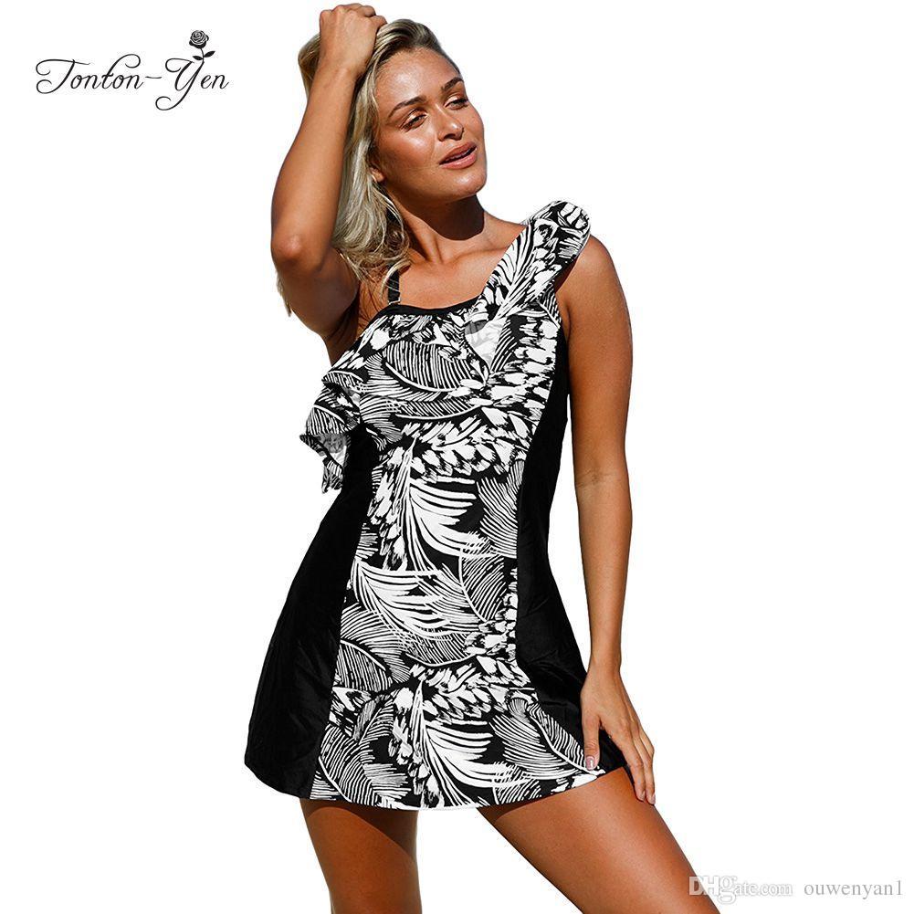 a0114f1c6d 2019 Plus Size Tankini Set Plus Size Women Swimwear With Skirt Swimsuit  Maillot De Bain Femme Tankiny Swimming Suit Bathing Suit 2017 From  Ouwenyan1, ...