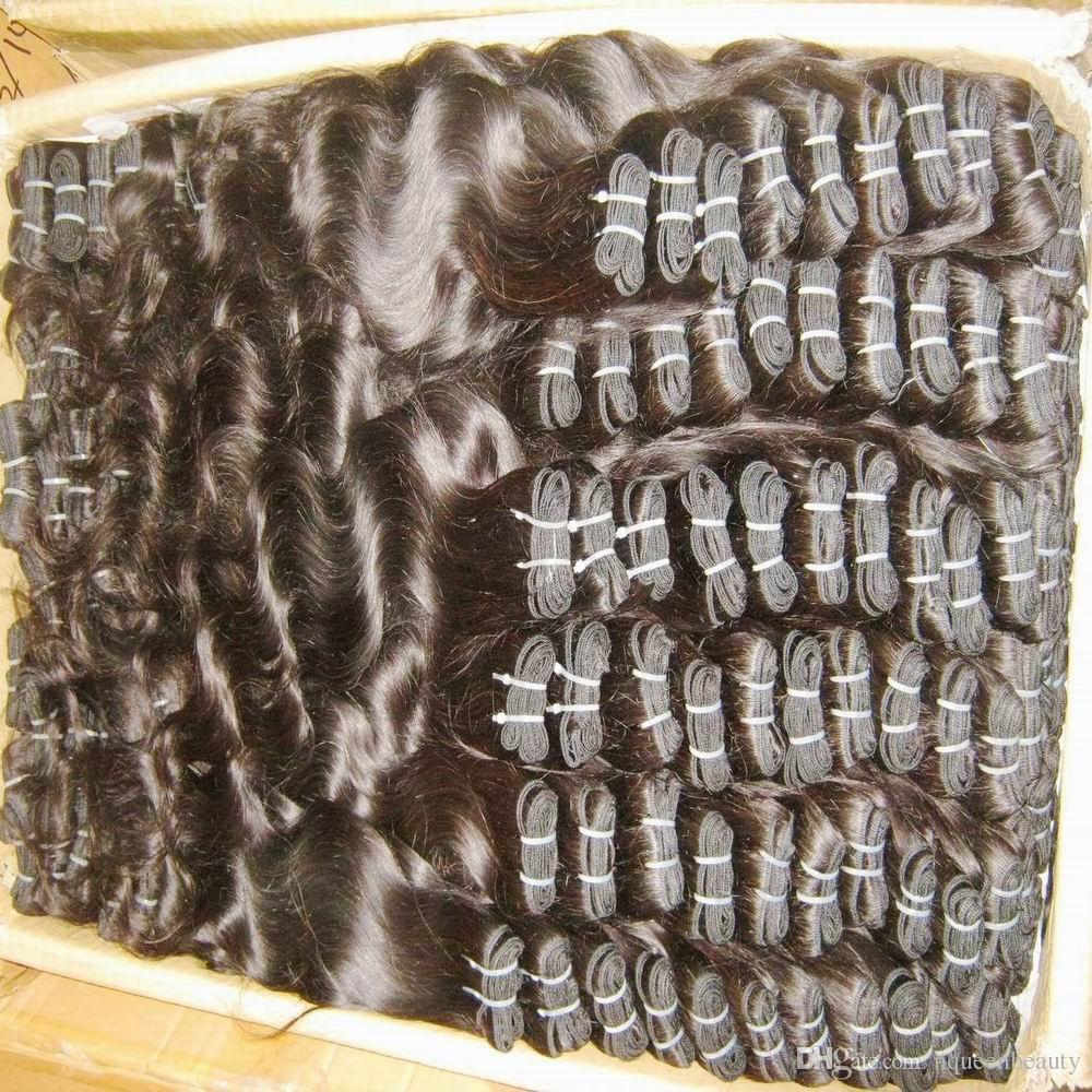 al por mayor de ondulado recto teje indio Procesado precio de la extensión del pelo humano de color Negro barato