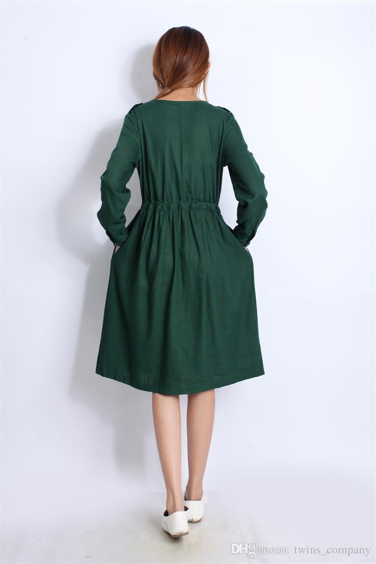 Quality Linen Maternity Dresses Autumn Long Sleeve Clothes for Pregnant Women Clothing for Pregnancy 2017 New Fashion