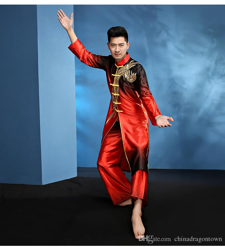 Новый дизайн Человек китайский народный танец Китай кунг-фу костюм мужской танец костюмы Весенний фестиваль Stage Единоборства Performance Одежда