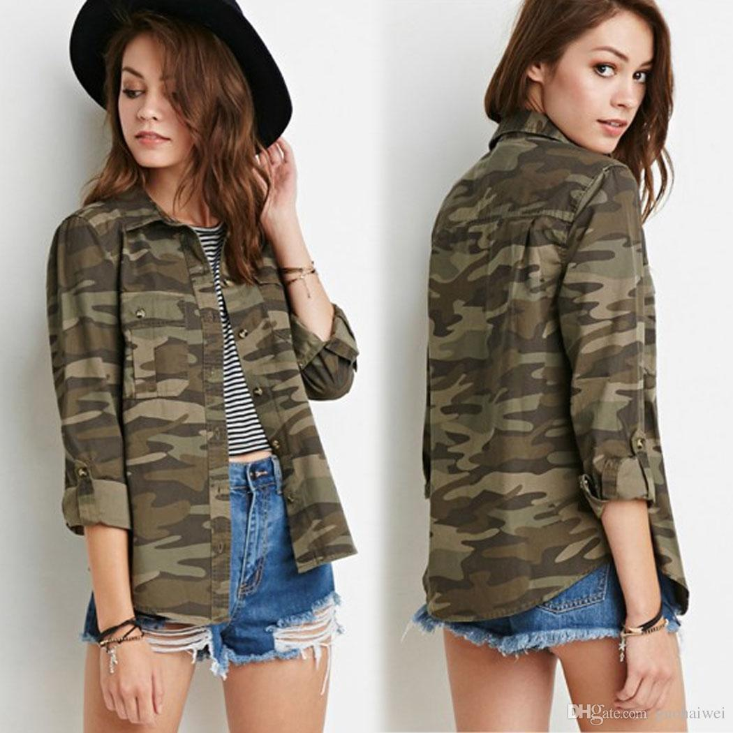4ea34fb80 fashion new arrival women's clothing Lady Turn Down Collar Long Sleeve  Camouflage Button Dwon Casual Shirts Female Top
