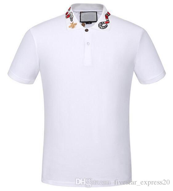 42fe9cd0837c New Arrival White Solid Polo Shirt Snake Bee Collar Casual Polos For ...