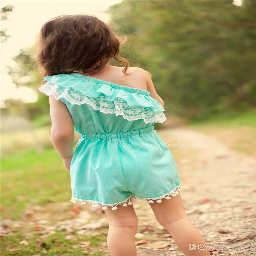 0-2T Baby Toddlers Ruffles One-shoulder Overalls Onesies Rompers For Summers Little Girls Babies Lace Balls Short Jumpsuits Infants Rompers