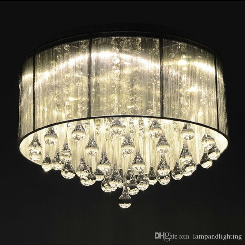 현대 낭만적 인 은색 패브릭 그늘 천장 조명 plafons 플러시 마운트 lamparas colgantes 장식 식당 거실