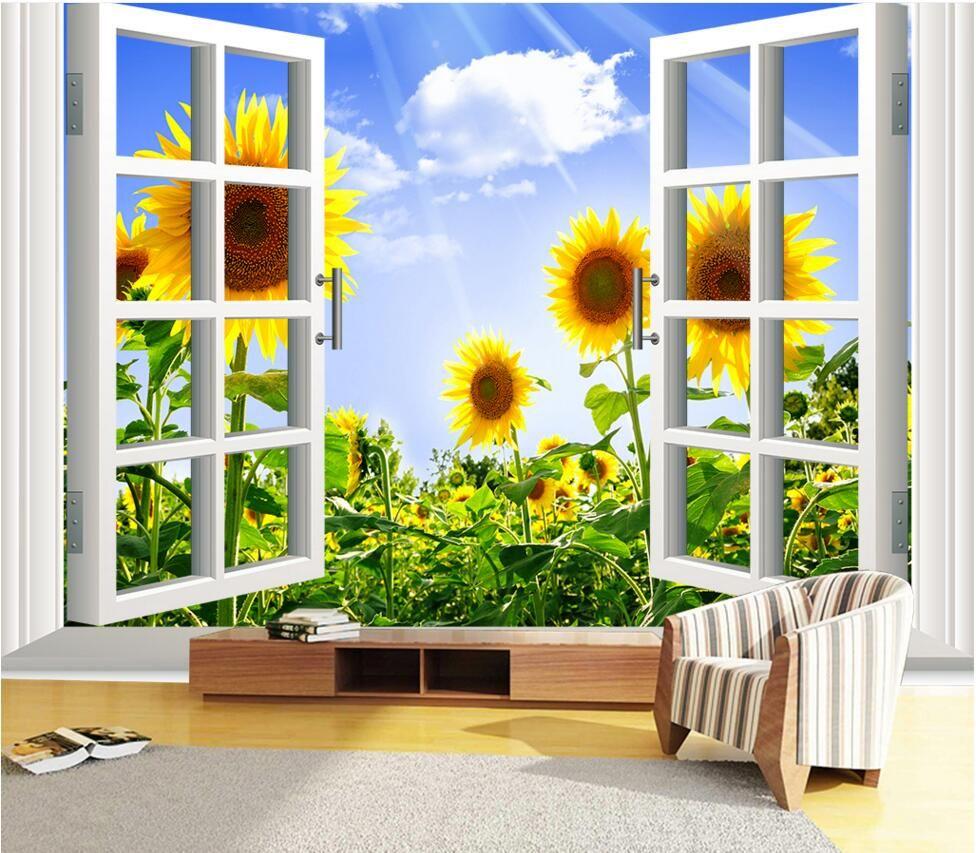 Custom 3D HD Photo Wallpaper Sunflower Murals Papel De