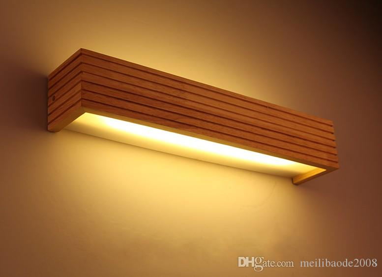 2019 Modern Japanese Style Led Lamp Oak Wooden Wall Lamp