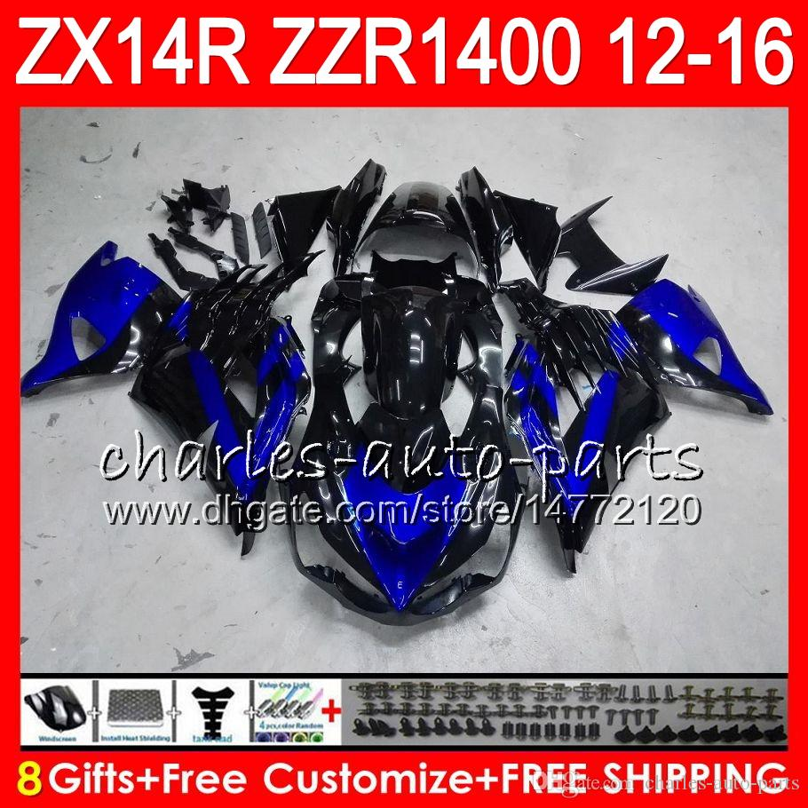 Bodywork For KAWASAKI NINJA ZZR1400 14 R ZX14R 12 13 14 15 16 64NO17 ZZR blue black 1400 ZX-14R ZX 14R 2012 2013 2014 2015 2016 Fairing kit