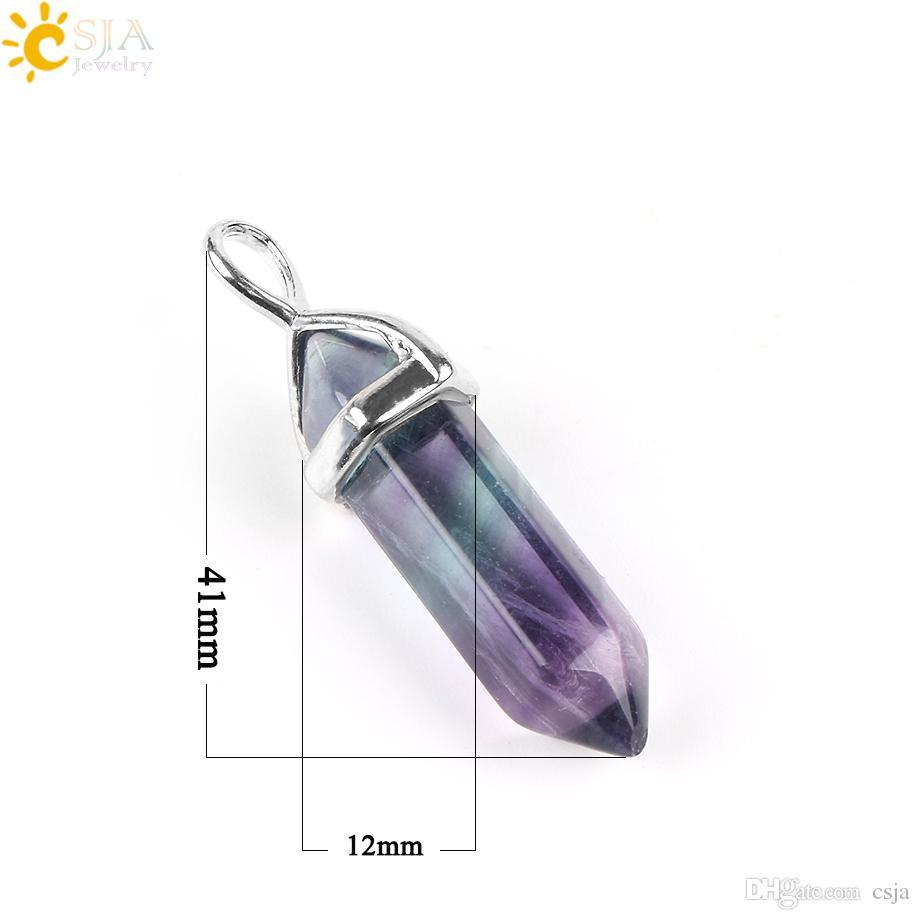 CSJA Hot Fluorite Colar Pingente de Gema Natural Bala Hexagonal Ponto Pilar Reiki Cura Reiki Jóias para Mulheres Dos Homens E546 A
