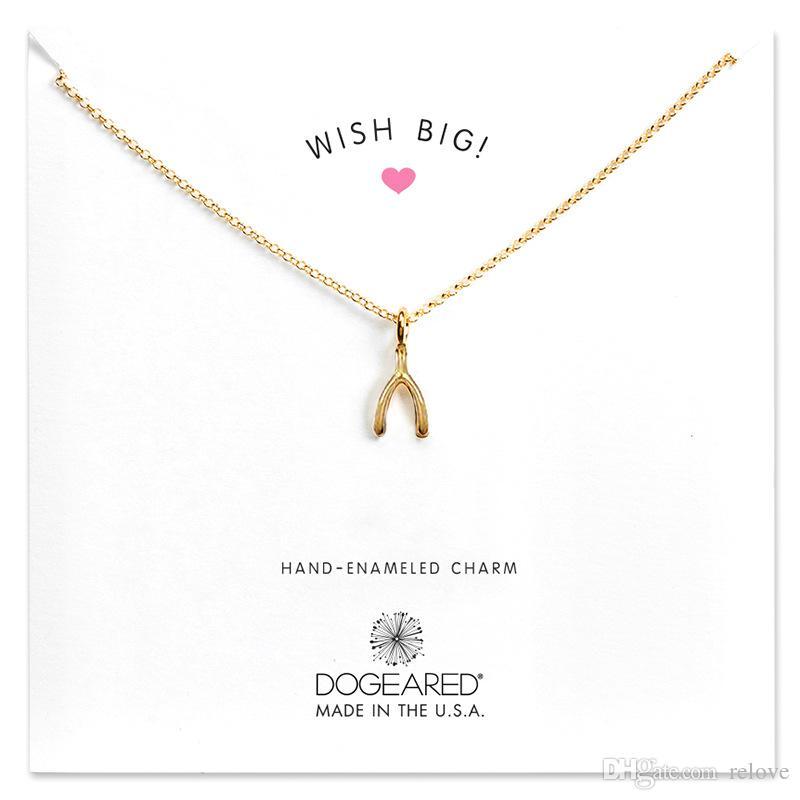 Neue Ankunft mit Karte! Gold Silber Farbe Dogear Halskette mit verschiedenen Anhänger, Kreuz / Wishing Bones / Anker / unendlich / Kreis / Elephant / Heart L