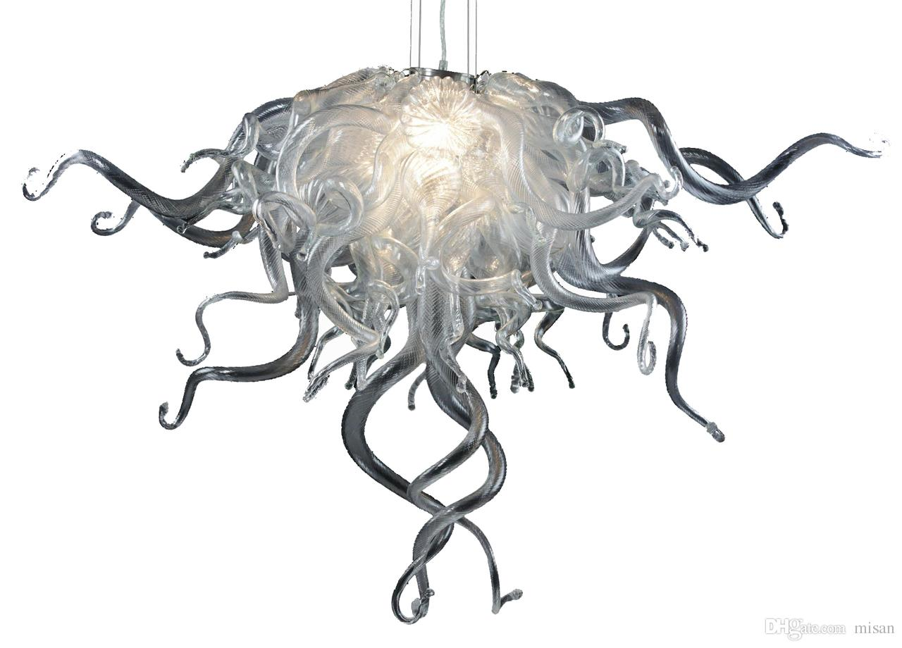Artistic Vintage Design Silver or Golden Twisted Glass Lamps 100% Hand Blown Glass Chandelier LED AC 110V 240V Small Chandeliers