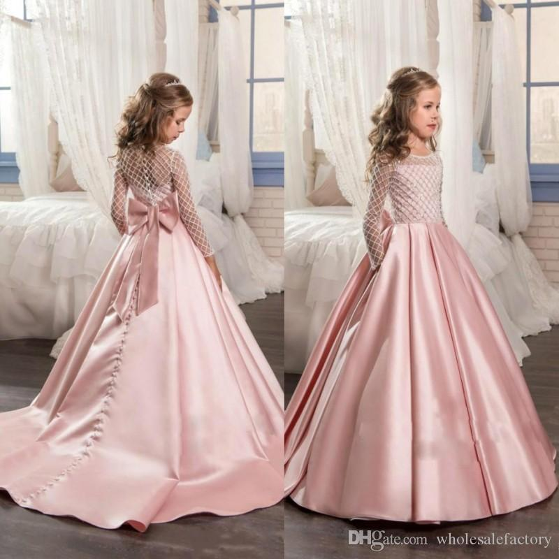 Pink Hot Long Sleeves Girls Pageant Dresses With Bow Knot Delicate ...