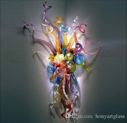 Criativo Arte Arandela De Vidro Multicolor Flor Decoração de Canto de Parede Interior Moderno Estilo LED Lâmpadas de Parede de Vidro Soprado