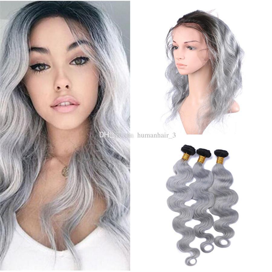 Body Wave Grey Ombre Cabello con 360 encaje frontal cierre dos tonos de color 1b gris 360 encaje frontal cierre con paquetes / lote