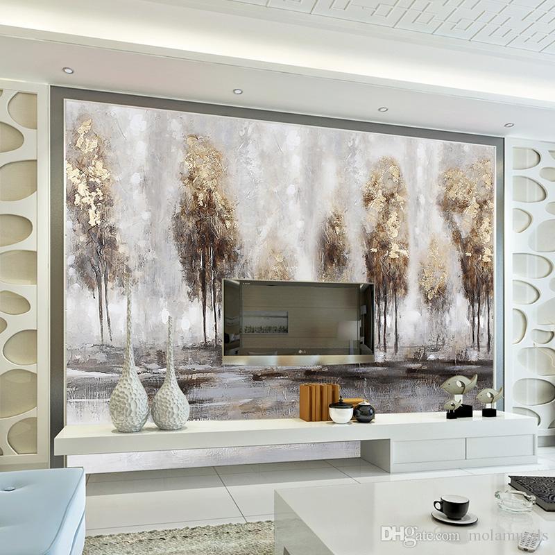 Фото 3d обои ручная роспись абстрактный пейзаж картина маслом лес фреска гостиная ТВ фон стены пользовательские обои