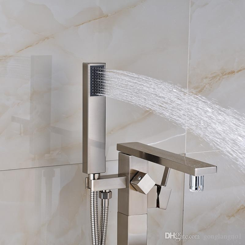 Contemporary Brushed Nickel Polished Single Handle Bathroom Tub Faucet Mixer Tap with Handheld Shower Floor Mounted