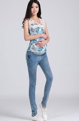 025dba384f6c Compre Hot Maternidade Roupas Calças De Brim Calças Nova Moda Gravidez  Lápis Maternidade Barriga Calça Estiramento Skinny Jeans Para Mulheres  Grávidas De ...