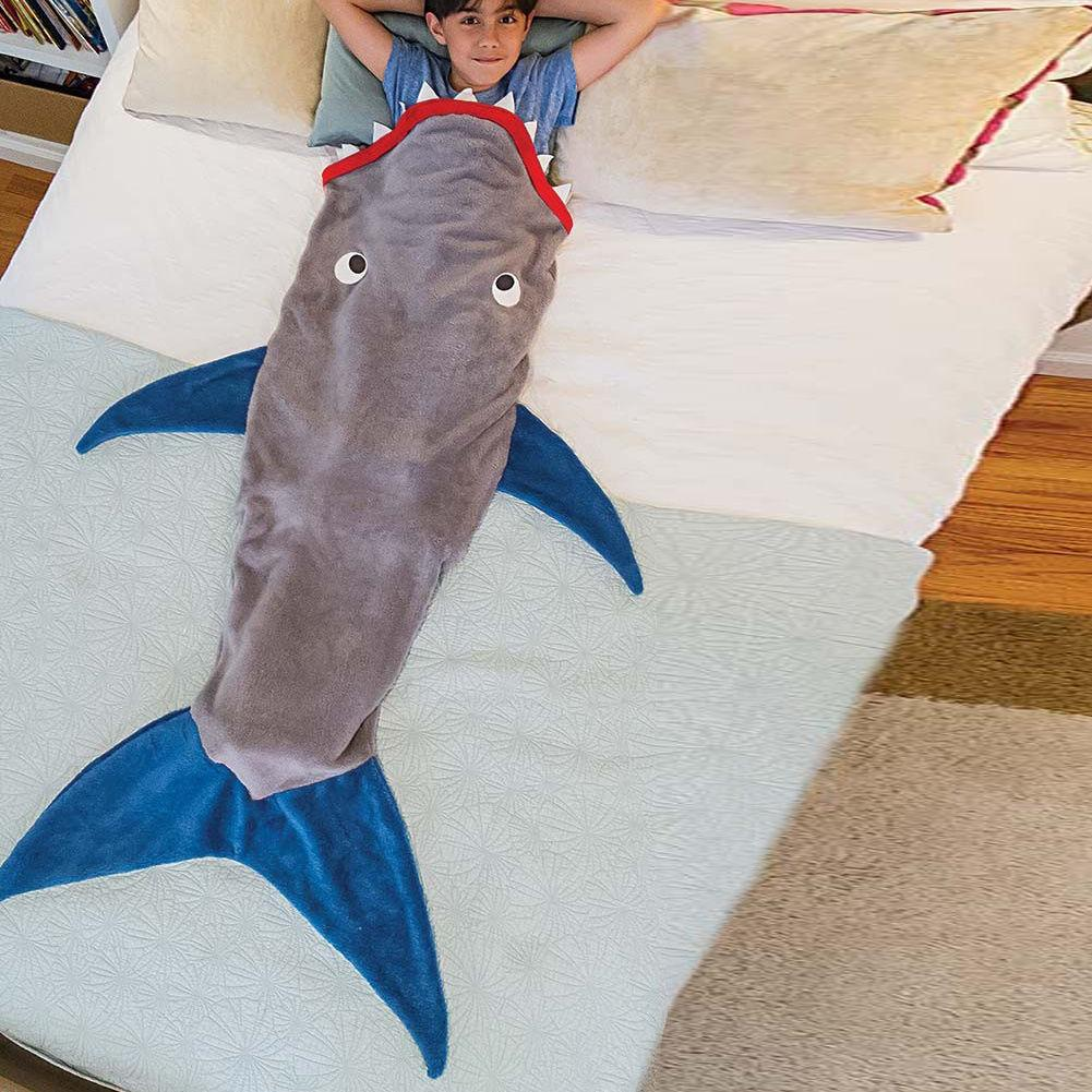 Shark Pillow Sleeping Bag baby sleeping bags shark tail kids sleeping bag double layers