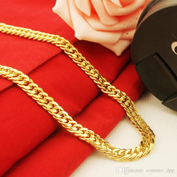 Hip Hop Heavy 24K Gold Filled Mens Chains 8-12MM Miami Cuban cadena de eslabones largos hebilla doble collares para hombre rapero joyería
