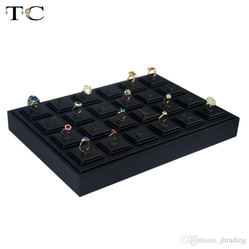 Plateau d'affichage de bijoux en similicuir noir haut de gamme pour anneaux 35 * 25 cm organisateur anneau de support de support cas boîte support