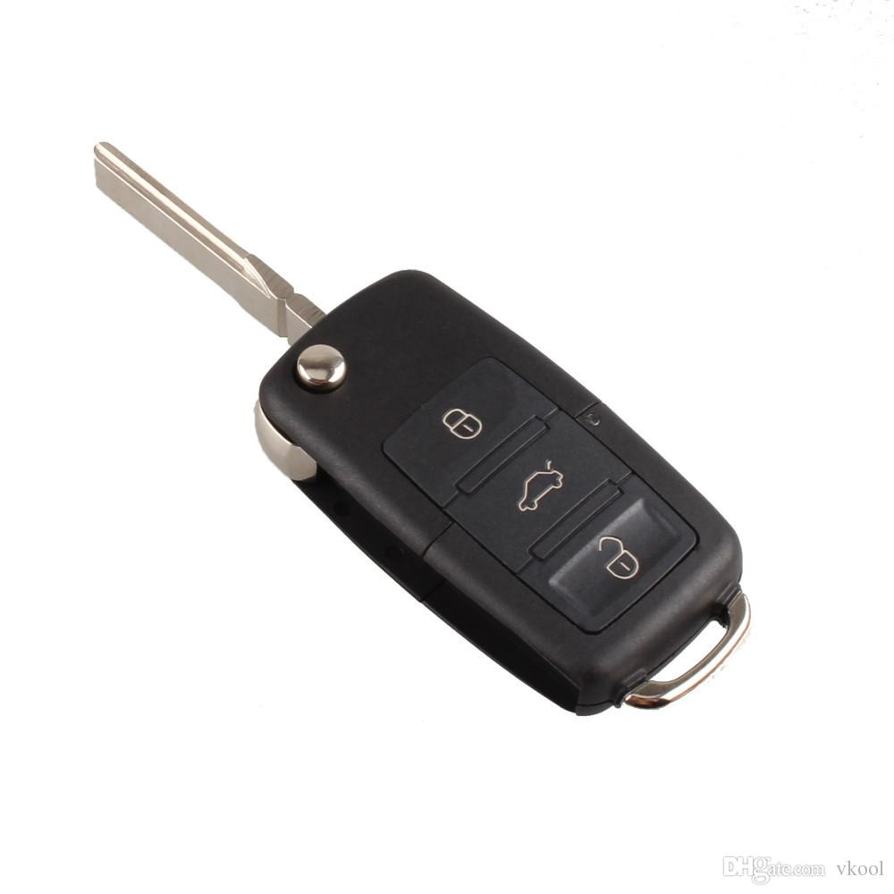 3 Button Uncut Blade Remote Car Key Case Blade for VW Jetta Beetle Car Key Shell Fob Folding Flip Replacement Keyless Car Cover